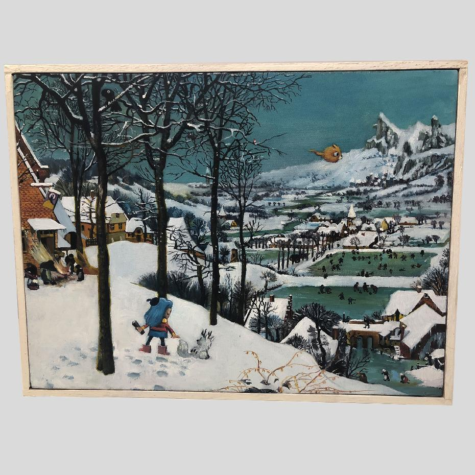 Hilda in the Snow (After Peter Bruegel the Elder) (Framed)